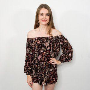FREE PEOPLE Black Floral Off-Shoulder Romper